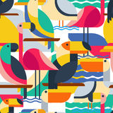 Seamless Pattern With Tropical Birds. Royalty Free Stock Images