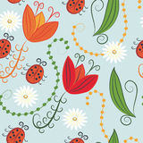 Seamless Pattern With Tulips And Ladybirds
