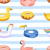 Seamless Pattern With Various Inflatable Swimming Pool Rings In The Shape Of Flamingo, Unicorn, Duck, Donut And Toucan. Royalty Free Stock Photos