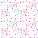 Seamless Pattern With Watercolor Pink Unicorn In Tutu, Feathers And Confetti Royalty Free Stock Image