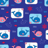 Seamless Pattern With Whales Royalty Free Stock Photos
