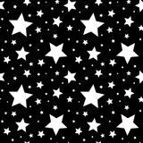 Seamless Pattern With White Stars On Black. Vector Illustration. Royalty Free Stock Image