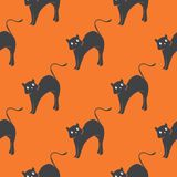 Seamless Pattern With Witch Cats. Halloween Background Royalty Free Stock Image