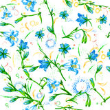 Seamless pattern withbells, hand painted royalty free illustration