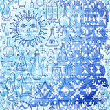 Seamless pattern withs alchemical signs and ethnic pattern on ba Royalty Free Stock Photo