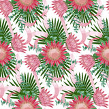 Seamless Pattern withTropical Wedding Bouquet Stock Photo