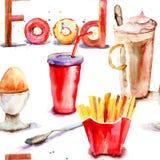Seamless pattern witn Food Stock Photo