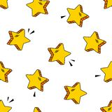 Seamless pattern witn yellow comic stars in pop art style on white background. Vector illustration stock illustration