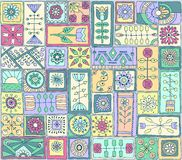 Seamless pattern witth doodle flowers and hearts. Seamless pattern. Sampler doodle flowers and hearts Stock Photography