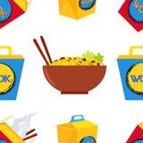 Seamless pattern of wok, asian chinese food. Stock Photos