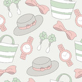Seamless pattern of woman accessories background Royalty Free Stock Photography