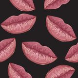 Seamless pattern with woman lips Royalty Free Stock Image