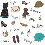 Seamless pattern of woman`s accessories Royalty Free Stock Photography