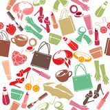 Seamless pattern with woman's things Stock Photography