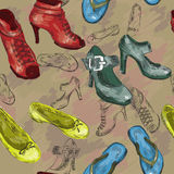 Seamless pattern with woman shoes Royalty Free Stock Photos