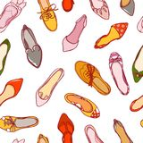 Seamless pattern of woman shoes. Vector colorful background of footwear collection.  Royalty Free Stock Image