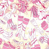 Seamless pattern with women boots and fashion accessories Royalty Free Stock Image