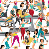 Seamless pattern women doing fitness exercises in the gym. Carto Stock Image