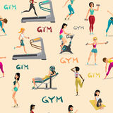 Seamless pattern women doing fitness exercises in the gym. Carto. On style vector  background Royalty Free Stock Images