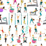 Seamless pattern women doing fitness exercises in the gym.. Cartoon style vector  background Stock Photos