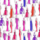 Seamless pattern with women in evening dresses Stock Image
