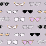 Seamless pattern, women fashion sunglasses Royalty Free Stock Photo