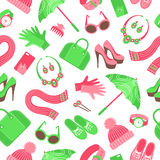 Seamless pattern with women's accessories. Flat vector illustration Royalty Free Stock Images