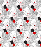 Seamless  pattern with womens faces. Stock Photos