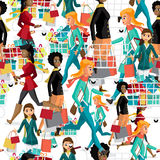 Seamless pattern women with shopping bags on Black Friday. Stock Images