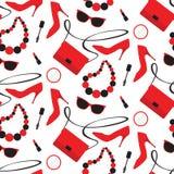 Seamless pattern. With womens fashion accessories: handbag, shoe, lipstick, mascara, sunglasses Stock Photo