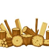 Seamless pattern with wood logs, trunks and planks. Background for forestry and lumber industry.  Royalty Free Stock Photo