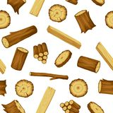 Seamless pattern with wood logs, trunks and planks. Background for forestry and lumber industry.  Stock Image