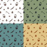 Seamless pattern with woodcutter. Lumberjack pattern. Seamless pattern with woodcutter, axes and trees Stock Photo