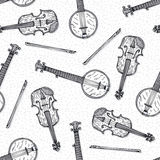 Seamless Pattern with Wooden Fiddle and Banjo. Black and White Seamless Vector Pattern. Wooden Fiddle or Violin with Fiddlestick and Banjo Stock Images