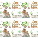Seamless pattern with wooden houses, garden, trees and fence on a white background. watercolor. child`s drawing. stock illustration