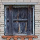 Seamless pattern of wooden window shutters. Seamless pattern for designers with old wooden window shutters on grey brick wall stock photography