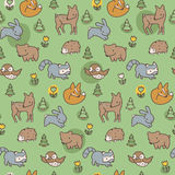 Woodland Meadow Pattern. Seamless pattern of woodland creatures on a green background Royalty Free Stock Photo