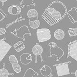 Seamless pattern with wool items. Goods for hand made, knitting or tailor shop.  Stock Images
