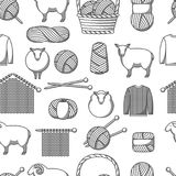 Seamless pattern with wool items. Goods for hand made, knitting or tailor shop.  Stock Image