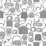 Seamless pattern with wool items. Goods for hand made, knitting or tailor shop.  Stock Photography