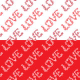 Seamless pattern with word LOVE in hand drawn style with roses f Royalty Free Stock Photography