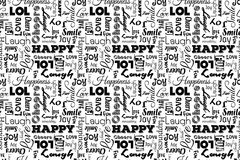 Seamless pattern with words: happy, joy, laugh, smile, happiness, lol, love, fun, cheers. Vector. Transparent background. Seamless pattern with words: happy Royalty Free Stock Image