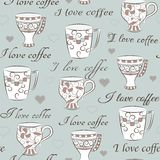 Seamless pattern with words I love coffee Royalty Free Stock Image