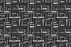 Seamless pattern with words: love, peace, balance, happiness, faith, God, belief, care, goodness, tranquility, harmony. Vector ill. Seamless pattern with words Royalty Free Stock Photo