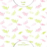 Seamless pattern  with the words sale. And discount percentage in Doodle style. Hand drawn vector illustration isolated on white background Royalty Free Stock Photography