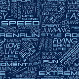 Seamless pattern of words. Vector pattern in the style of racing cars with the words speed, extreme, adrenaline and others Stock Photos