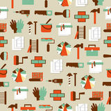 Seamless pattern working tools icons. Home repair Royalty Free Stock Photos