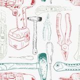 Seamless pattern, working tools in sketch style. Colored shapes Royalty Free Stock Photography