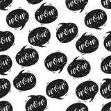 Seamless pattern with WOW speech bubbles. Vector illustration Stock Photo