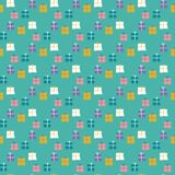 Seamless pattern of wrapped gifts on a mint green background. stock illustration